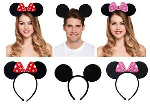 Mickey-Minnie-Mouse-Ears-Headband-Fancy-Dress-Polka-Dot-Spotted-Bow-Red-Pink