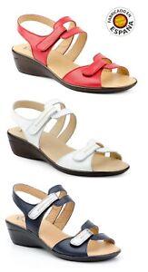 Sandalia-cuna-velcro-piel-color-Rojo-Azul-y-Rojo-tallas-35-a-41
