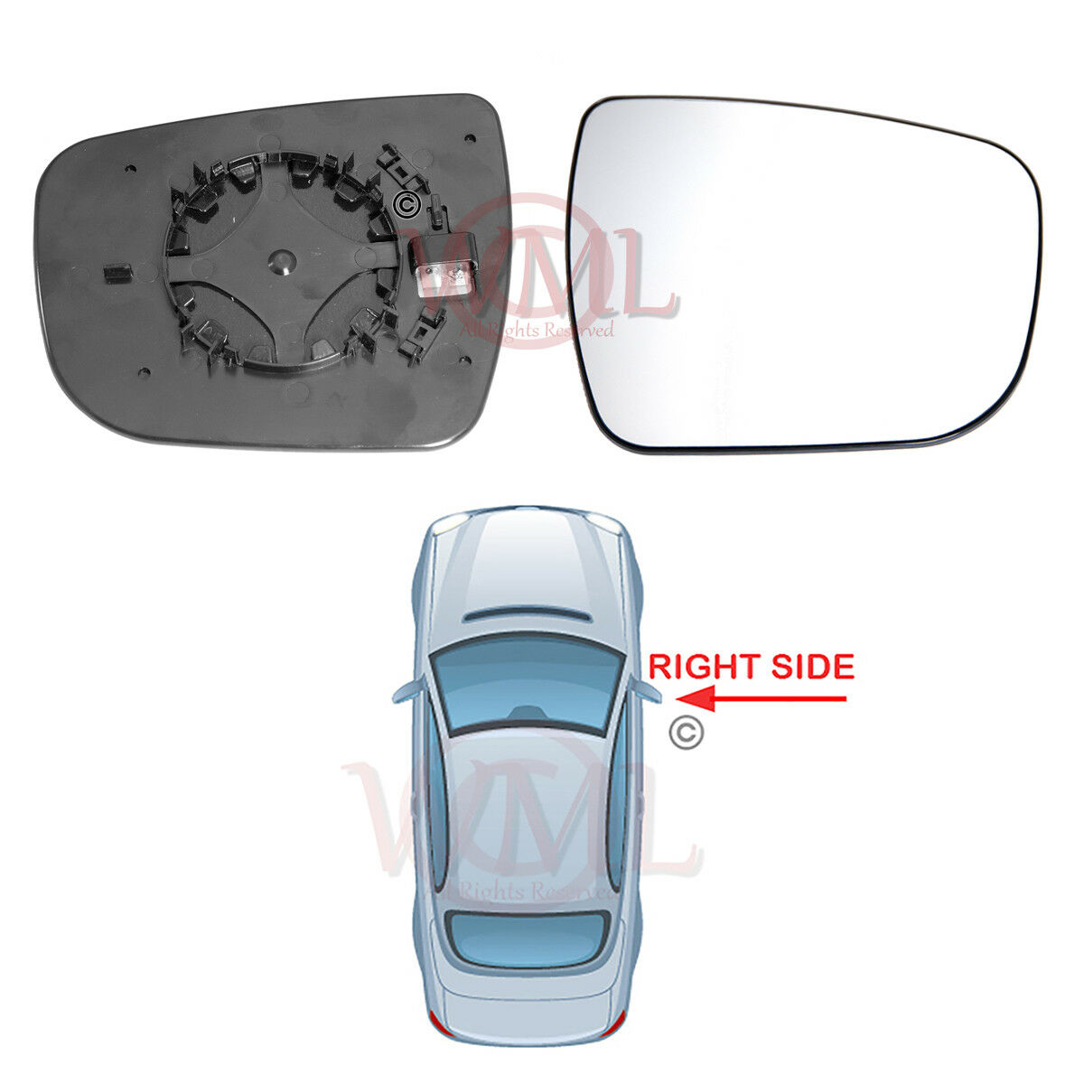 VW Amarok Right Driver wing mirror glass 2010-2019 door side Heated