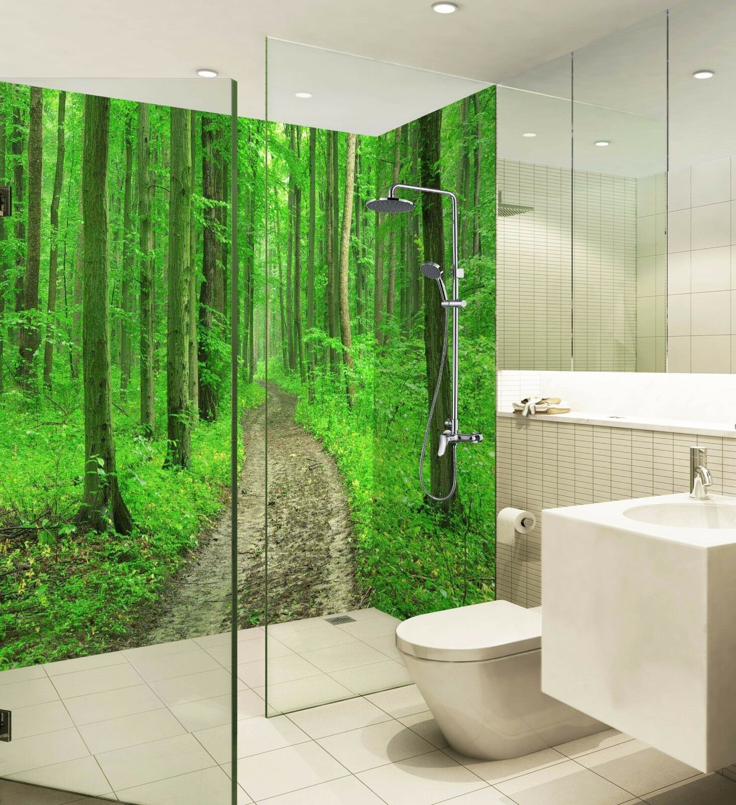 3D Grün Forest Road WallPaper Bathroom Print Decal Wall Deco AJ WALLPAPER UK