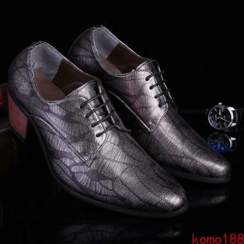 Men/'s cuban Heel lace up oxford pointed toe casual dress formal Shoes