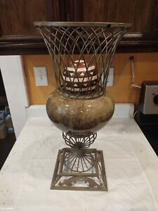 "Art Deco Ceramic Round Vase Base Stand Deor Ball 21.5"" Tall"