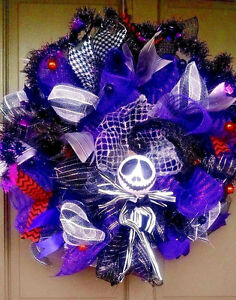 Halloween-NIGHTMARE-BEFORE-CHRISTMAS-Mesh-Wreath-Jack-Skellington-Door-Decor