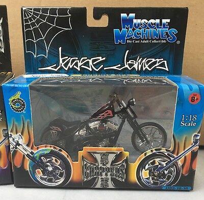 NIB Muscle Machines Black 1//18 Cherry CFL James West Coast Chopper Motorcycle