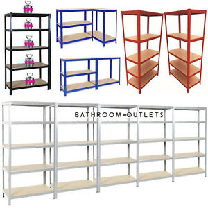 Heavy Duty Metal Racking Bays 5Tier Freestand Garage Shelving Storage Rack Units