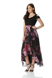 a8f692f4a96 Image is loading Roman-Originals-Women-Floral-Print-Cold-Shoulder-Maxi-
