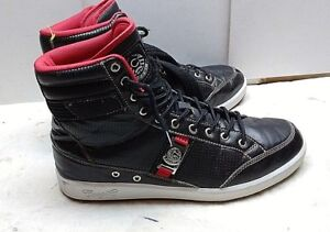 coogi men's leather black red high tops fashion sneaker