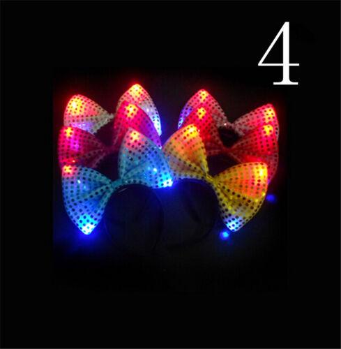 LED Light Up Hairband Bunny Rabbit Ears Bow Headband Party Holiday Gift ME