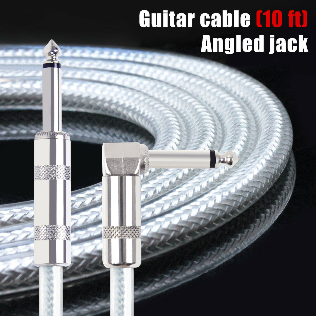Kmise Guitar Cable Instrument Cord Straight Right 10ft Ofc