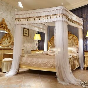 luxury canopy for bed drapes mosquito net with 4 corner frames queen king white ebay. Black Bedroom Furniture Sets. Home Design Ideas