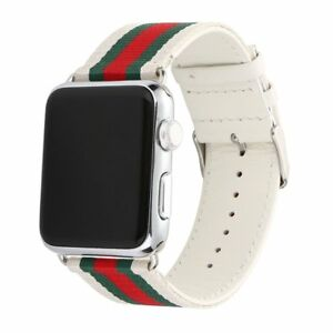 best loved f8082 72b85 Details about 38mm Apple Watch Band Strap Gucci Pattern Sport Replacement  Wrist Brace Leather