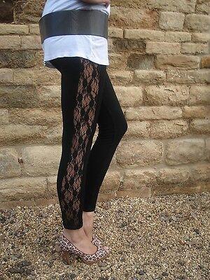 EXTRA LONG INSEAM Lace Insert Viscose Elastane Leggings BLACK Tall