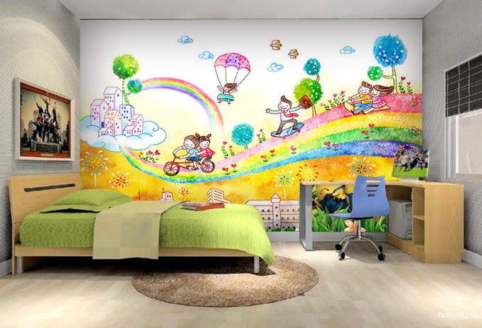 3D Rainbow Road Cartoon Paper Wall Print Wall Decal Wall Deco Indoor Murals