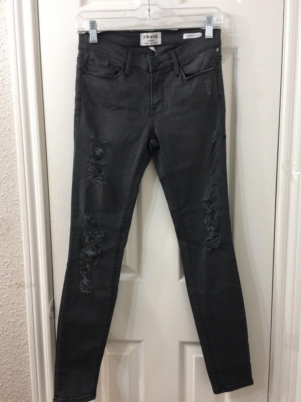 Frame denim le skinny de jeanne Dark Grey Rip Jeans Sz 27