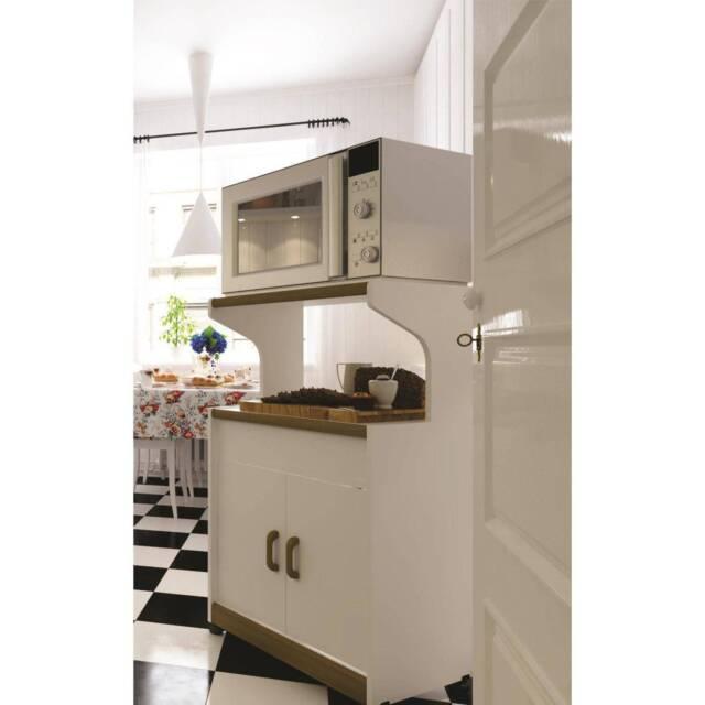 Kitchen Microwave Storage Wood Cabinet Portable Cart Shelf Cupboard Stand White