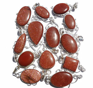Sunstone-Wholesale-Lot-Silver-Plated-20Pcs-Pendant-Gemstone-Jewelry