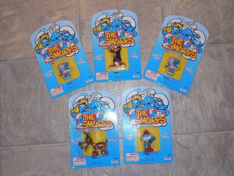 5 De Colección Peyo Los Pitufos Figuras Pvc De Papa marrón Dog GarJuegol Pitufina Nuevo En Paquete