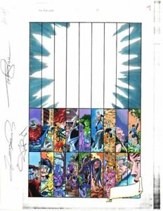 Original-1998-Marvel-Avengers-1-color-guide-art-Perez-Submariner-She-Hulk-SIGNED