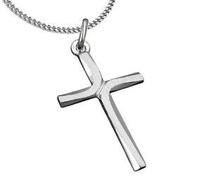 925-ECHT-SILBER-Kreuz-Anhaenger-matt-diamantiert-29-mm-Kette-optional