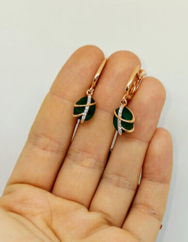 New Russian Fine Jewelry Boucles D/'oreilles URSS Style Solid Or Rose 14K 585 3.32 G Agate