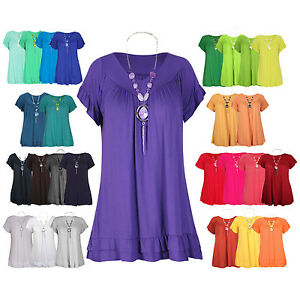 8a77a00fed Details about New Womens Plus Size Gypsy Tops Frill Necklace Ladies Tunic  Short Sleeves 12-22