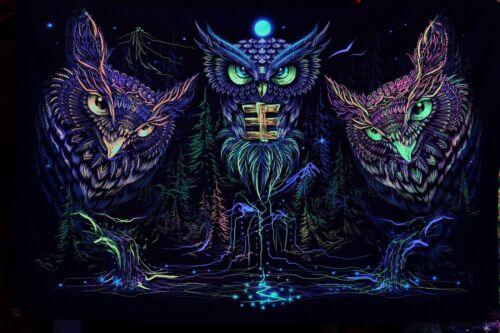 Telón de fondo UV Fluorescente Resplandor Tapiz Colgante De Pared Art Banner Psy Psicodélico