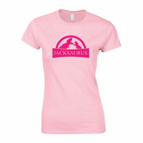 Personalised JURASSIC Dinosaur Jurrasic Womens Ladies Saurus Printed Name TEE