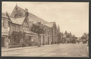 Postcard-Cardiff-Glamorgan-Wales-view-of-St-Martins-Church-etc-in-Albany-Road