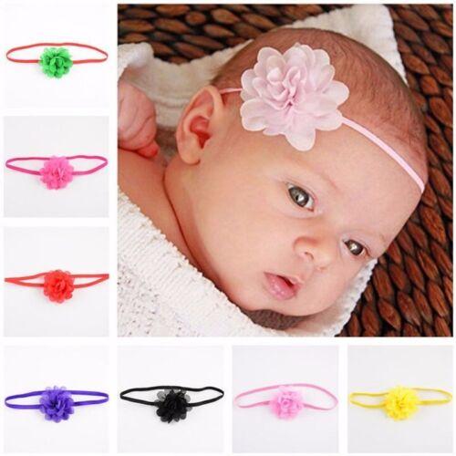 10//1 Baby Girls Infant Toddler Flower bloom Headband Chiffon Hair Band uk seller