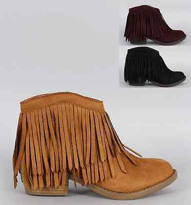 Womens Fringe Ankle Bootie im-Suede Pointed Toe Stacked Heel Western Moccasin