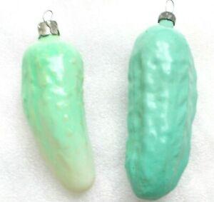 2-Alten-Antiker-Russen-Christbaumschmuck-Glas-Weihnachtsschmuck-Pickles-Ornament