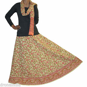 Handmade-Cotton-Block-Printed-Floral-Design-Long-Wrap-Skirt-from-India