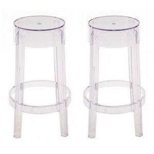 Enjoyable Details About 2 X Charles Style Ghost Counter Stool In Clear Finish Gmtry Best Dining Table And Chair Ideas Images Gmtryco