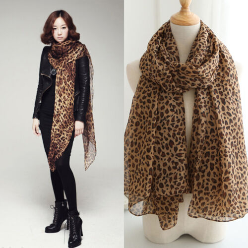 New Fashion Women Long Style Wrap Lady Shawl Leopard Chiffon Scarf Scarves Stole