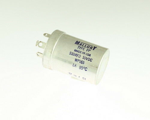 WP065 MALLORY CAPACITOR 500UF 50V ALUMINUM ELECTROLYTIC LARGE CAN TWIST LOCK