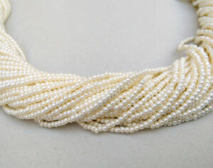 50-Strand-Lot-White-Seed-Pearl-Smooth-Rondelle-2mm-Beads-13-034-Long-For-Beading