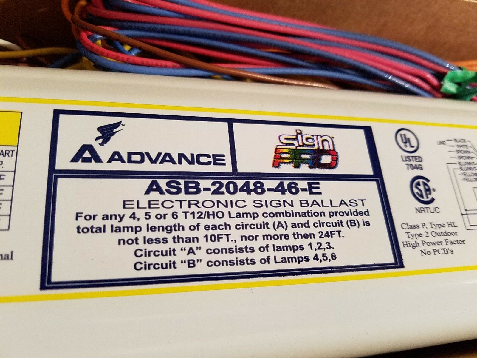 Asb-2048-46-e Advance Sign Ballast Same as Esb848-46 Damar 06246 on