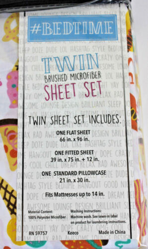 Bedtime Twin Fast Food 3 pc Sheet Set Kids New Pizza Bacon Ice Cream Donuts