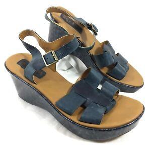 f6917585c71 KORKS by Kork-Ease Brie Platform Wedge Ankle Strap Sandals Blue ...