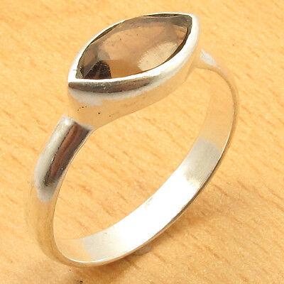 Size US 7.75 Ring, Original SMOKY QUARTZ 925 Silver Overlay STUNNING Jewellery