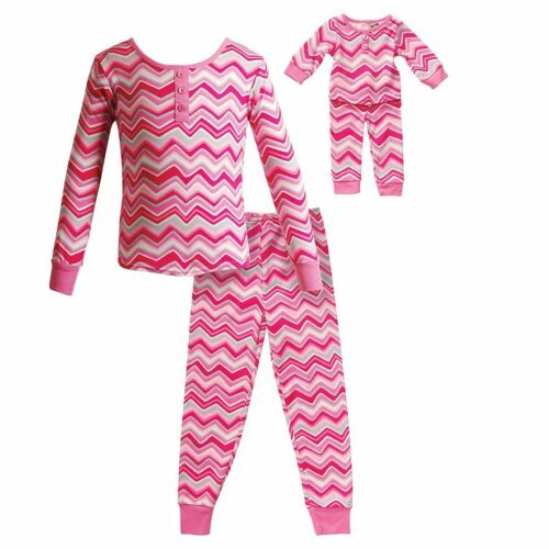 Dollie Me Girl 3T 14 and Doll Matching Pink Chevron Pajama Outfit American Girl