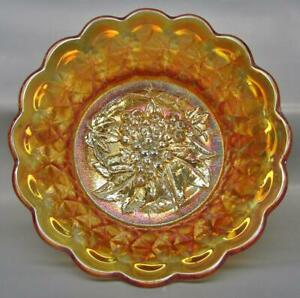 Imperial-HEAVY-GRAPE-with-FLUTE-Exterior-Marigold-Carnival-Glass-9-034-Bowl-7365