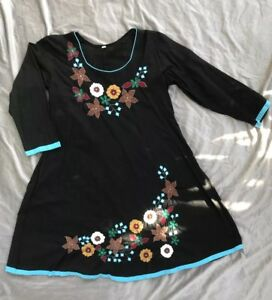 325f8abb47 Details about VINTAGE 70s HAND-EMBROIDERED MEXICAN FLORAL HIPPIE BOHO Dress