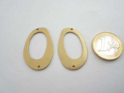 2 connettori in zama placcato oro giallo effetto satinato  assimetrico 35x22 mm.