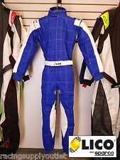 Sparco/Lico  Go Kart Racing Suit FIA  Blue/Silver Size X Large [In the USA]
