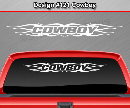 Design #121 COWBOY Windshield Decal Sticker Rear Window Graphic Flame Tribal Car