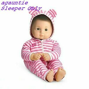 New American Girl Bitty Baby Basics Pink Stripe BEAR SLEEPER ONLY Hoodie Twins