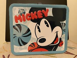 MICKEY MOUSE DISNEY Lunch Box by Loungefly Rare Blue and whiteMetal Tin Food