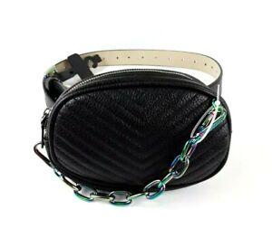 Steve-Madden-Black-Fanny-Pack-Waist-Belt-Bag-Rainbow-Metallic-NWT-Small
