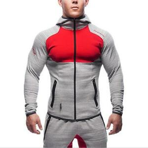 Trendy-Sports-Muscle-Men-039-s-Gym-Fitness-Workout-Tracksuit-Hoodies-Bottoms-Pants